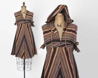 Vintage 70s Boho HOODED Dress / 1970s Empire Waist Chevron Striped Festival Dress with Hood xs s