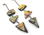 Dangly Chain Polymer Shards Earring Components Charms Yellow Orange and Black textured Organic Earthy Boho Rustic Pair