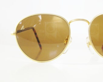 Vintage Round Sunglasses 1980s Geek Chic Nerdy Glasses Womens Ladies Girls 80s Eighties Gold Matte Metallic Bausch and Lomb Chic Deadstock