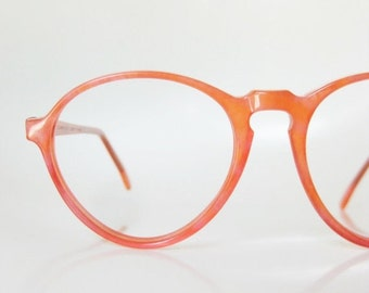 ON SALE Neon Pink Eyeglasses 1960s Jean Lafont Glasses Peach Bright Colorful 60s Salmon Paris France French Sunglasses Sunnies Round P3 Mid