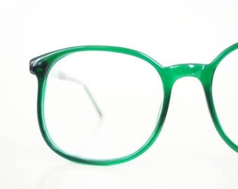 ON SALE 1970s Round Emerald Green Eyeglasses Sunglasses Oversized Clear Forest Womens Ladies 70s P3 Round Huge Geek Chic Sunnies Deadstock N