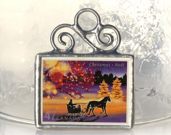 Canadian Postage Stamp Christmas Ornament Stained Glass Decoration Canada Ornament Sleigh Ride