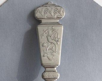 Spoon Key Chain Spoon Key Ring Spoon Keychain Vintage Silver Plate Silverware Key Chain Corona Pattern, Bird, Spoon Handle Key Ring