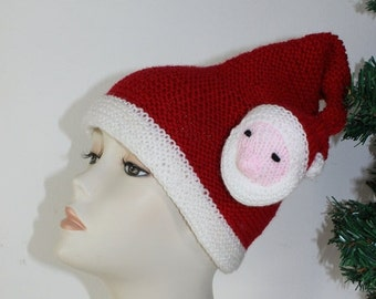 HALF PRICE SALE Madmonkeyknits - Adult Santa Head Christmas Hat knitting pattern pdf download - Instant Digital File pdf knitting pattern
