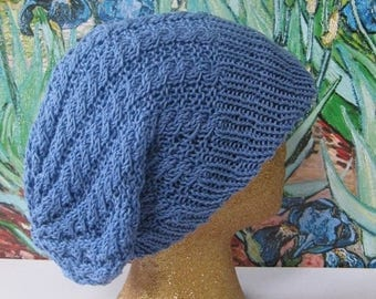 50% OFF SALE Digital pdf download knitting pattern - Iris Cable Peak Slouch Hat pdf knitting pattern