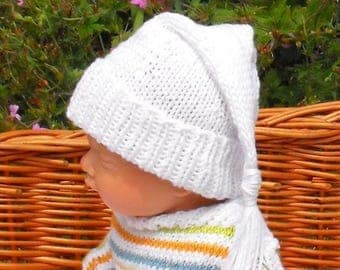 50% OFF SALE knitting pattern digital pdf download - Baby Wee Willie Winkie Hat pdf knitting pattern  - madmonkeyknits