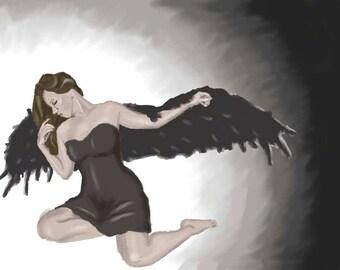 Digital Painting Print Fallen Angel