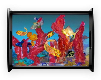 Coral reef under the sea ocean art serving tray from my art, available in 2 sizes