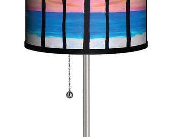 Pink sunset palm trees coastal beach house table lamp from my art