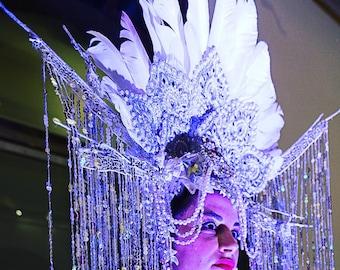 Swan Lace Queen Headdress Headpiece Costume Festival Burning Man Masquerade Ball