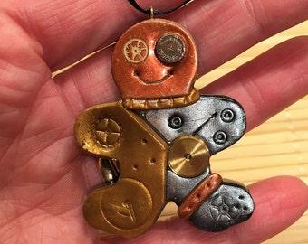 Polymer  Clay Gingerbread Man Christmas Ornament - Steampunk Holiday Decor