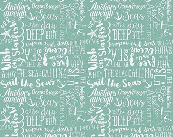 Riley Blake Fabric By the Sea Collection Sea Story Phrases in Teal,  choose your cut