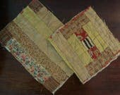Two Primitive Antique Civil War Era Quilt Pieces
