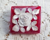 RESERVED...Pretty Vintage Ruby Red Lucite Brooch / Pin / Brooch with White Rose and White Leaves, Reverse Carving, Rectangle,