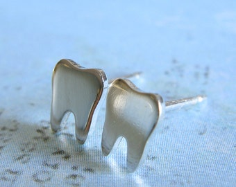 Tooth stud earrings. Made from sterling silver 14k gold-filled or solid 14k gold. Small or tiny size. Gift for dentist or dental hygienist.