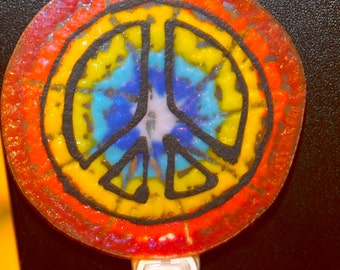 Handmade Fused Tie Dye with Peace sign  Night Light.
