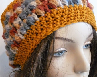 Crochet Slouchy Hat in Gold, Blue, Brick, For Teens and Women