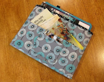 Aqua and Gray Magazine & Tract Bag, Tablet Sleeve, With Contact Card Pocket