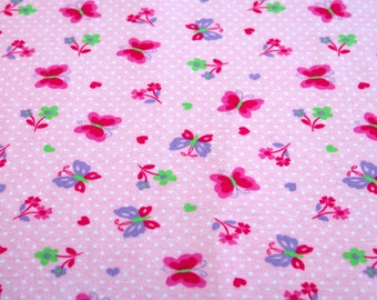 100% Cotton Interlock Knit Fabric Pink Polka Dot Butterflies and Flowers For Baby Girl  Cotton Fabric for Bibs Blankets Diapers or Wipes