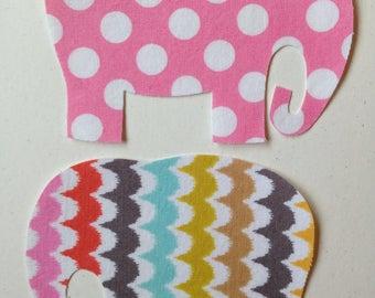 2 Medium Fabric Iron On Elephant Appliques