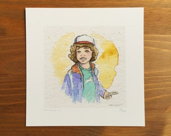 Dustin Stranger Things, Watercolor Prints, 5x5 by Kendra Minadeo Limited Edition