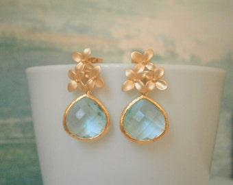 Aquamarine Earrings, Gold Earrings, Flower Post Earrings, Bridesmaid, Mom, Wife, Sister, Best Friend