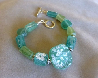 Roman Glass Bracelet, Ancient Roman Glass, Thai Silver, Gifts for Her