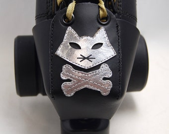 Leather Toe Guards with Silver Pirate Cats