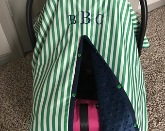 Baby Car Seat Cover - PUL - Waterproof Green and White Stripe with Navy Minky - Baby Boy - Rain Canopy Cover - Snap Opening - Monogram Avail