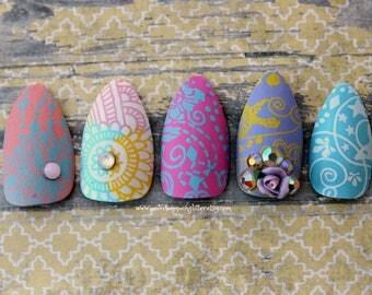 Flourish Stiletto Nails-Prom Nails- Press On Nails- Stiletto Fake Nails- Matte Pastel Nails-Rose Nails-Acrylic Nails-Glue on Nails for Prom