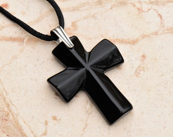 Black Agate Cross Pendant Necklace with Sterling Silver Simple Line Bail on Black Satin Cord