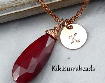 Ruby Necklace,July Birthstone Necklace,Personalized Rose Gold Initial Necklace,40th Anniversary Gift