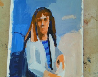 Portrait of a woman with striped shirt- original acrylic painting-