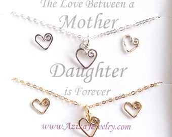 Matching Mother Daughter Heart Necklace Set and Earring Set. Gold and Silver Mommy Daughter Heart Set.