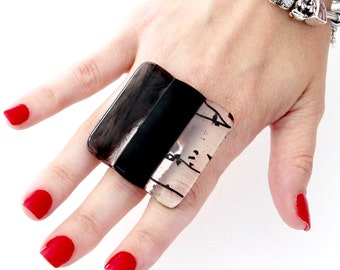 Big Ring Fused Glass Jewelry - statement jewelry, statement rings, black ring, cocktail ring, handmade ring by StudioLeanne