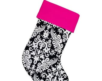CLEARANCE SALE Personalized Stockings Christmas Stocking Black and White Damask Hot Pink Cuff | CS0029 by Forshee Designs