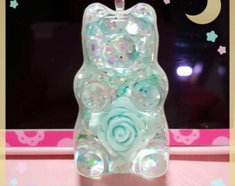 Teal rose gummy bear necklace or keychain
