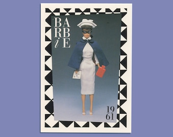 """Barbie Collectible Trading Card - """"Registered Nurse"""" 1961 - Card No. 25 for Barbie collectors, dioramas, Medical Barbie History"""