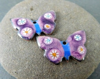 Butterfly Enamel Earring Charms, Pastel Pink Purple Blue Insect Pendants, Nature Inspired Enameled Copper Bead Pair, Animals, Wildlife