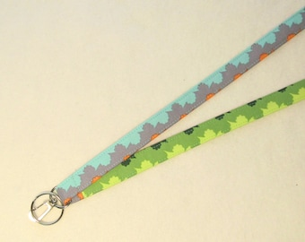 Amy Butler Fabric Lanyard ID Badge Holder Breakaway Lanyard Key Ring Fob Violette Organic Stripes Gray Turquoise Blue Lime Green Lanyard