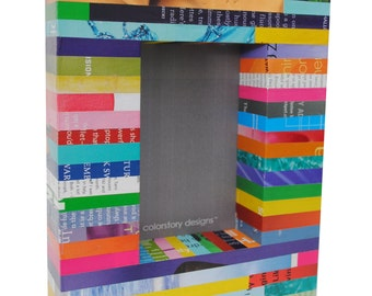 BOX picture frame - colorful - made with recycled magazines - bright, unique, recycled, colorful, 4x6, frame, stripes, interior design, fun