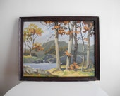 Framed 50s / 60s Paint by Number - camping lake scene