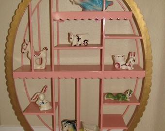Vintage OOAK Oval Pink & Metal Enameled Scalloped Edges Multi Tier Former Gift Shop Display Curio Shelf