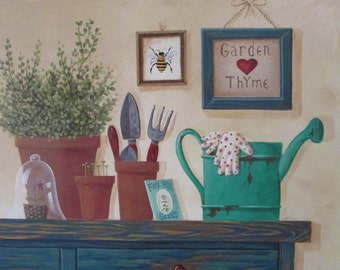 "Original Folk Art Painting Garden Thyme 20"" x 16"""