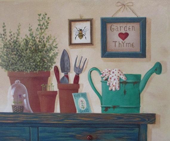 "Original Folk Art peinture jardin thym 20 ""x 16"""