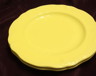 Yellow Ironstone 2 Yellow Plates Lemon Federalist Ironstone Vintage Made in Japan Replacement Dinner Plate