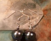 Beautiful Irridescent Black Peacock Pearls on Sterling Silver Earwires
