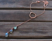Sundrop - Labradorite or Turquoise Lariat Necklace - Semi Precious Stone and Copper Teardrop Lariat Necklace - Artisan Tangleweeds Jewelry