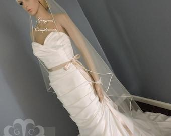 Sweetness -Single Tier Satin Rattail Edge Wedding Veil Cascade Choose Length, Bridal Veil SW45RE