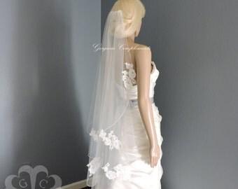 Cascade Veil French Alencon Lace Appliques, Bridal Veil, Wedding Veil
